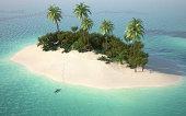 aerial view of caribbeanl desert island