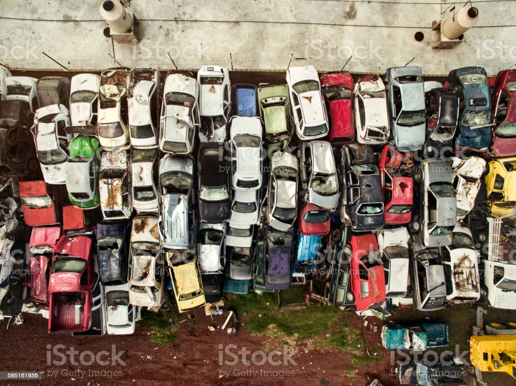 Aerial view of cars in junkyard. stock photo