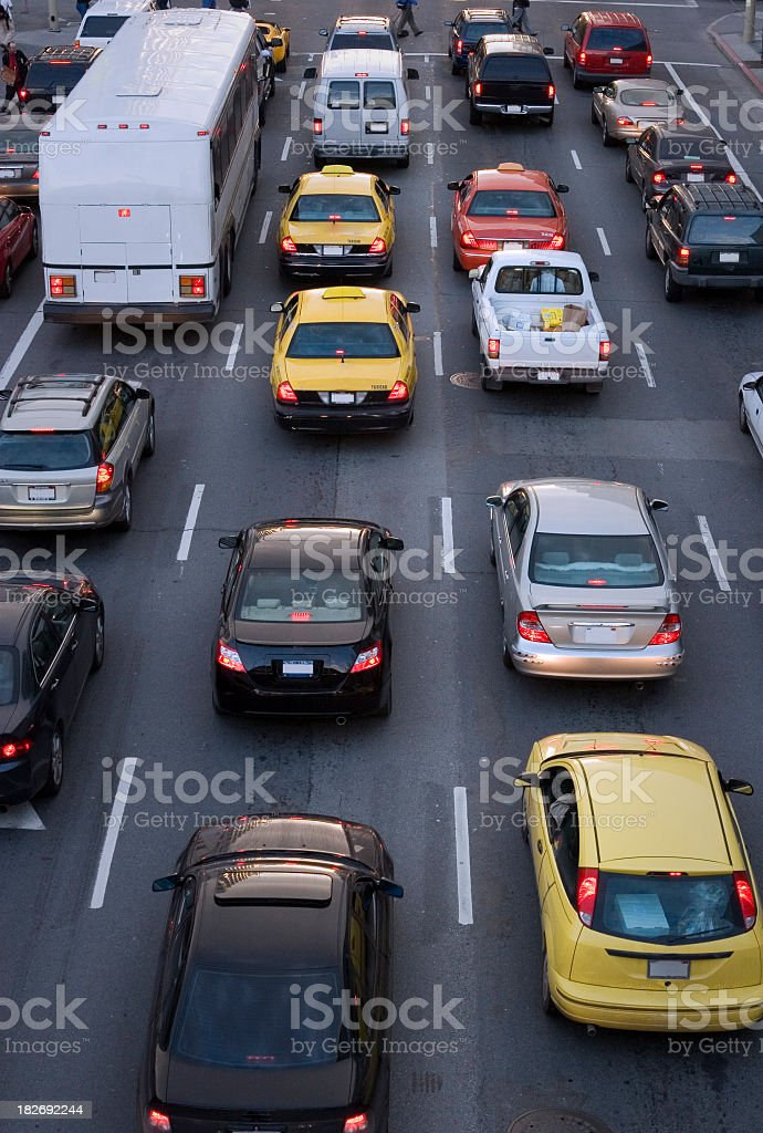 Aerial view of cars on the street during traffic royalty-free stock photo