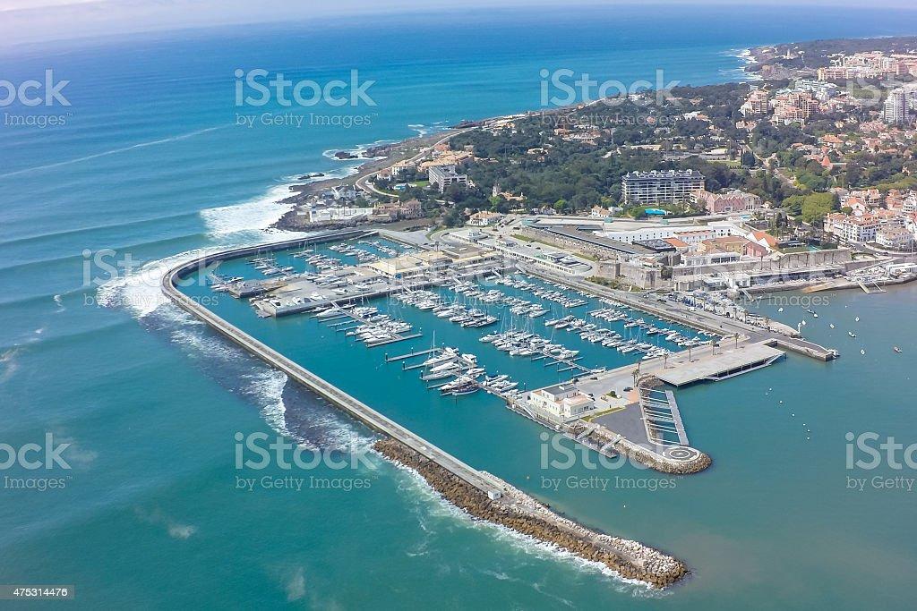 Aerial view of Cascais coastline near Lisbon in Portugal stock photo
