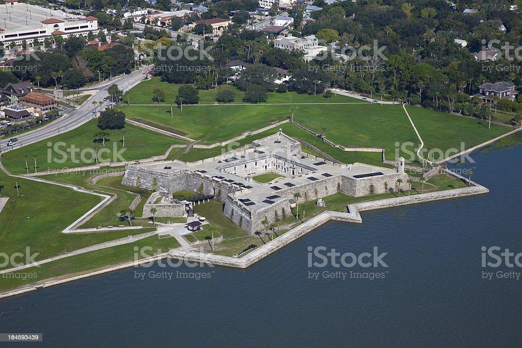 Aerial View of Castillo de Marcos, St Augustine, Florida stock photo