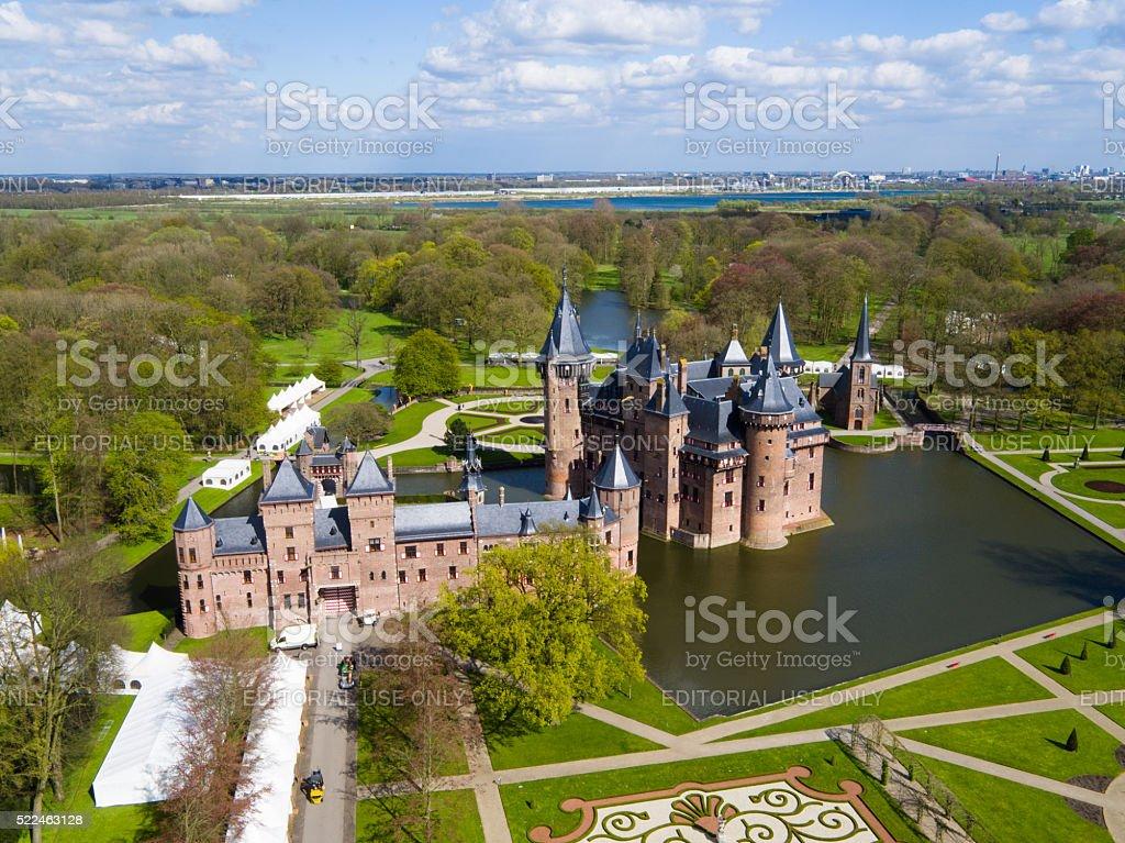 aerial view of Castle de Haar stock photo
