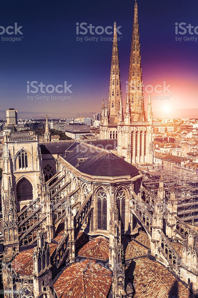 Aerial view of  Cathédrale Saint-André stock photo