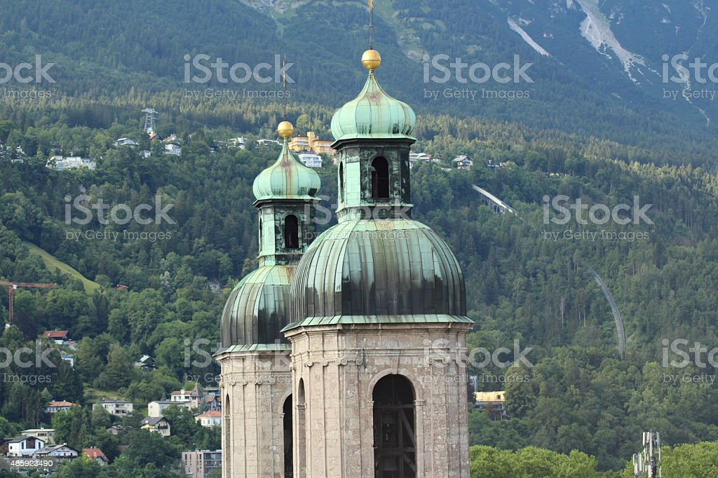 Aerial view of Cathedral of St. James of Innsbruck stock photo