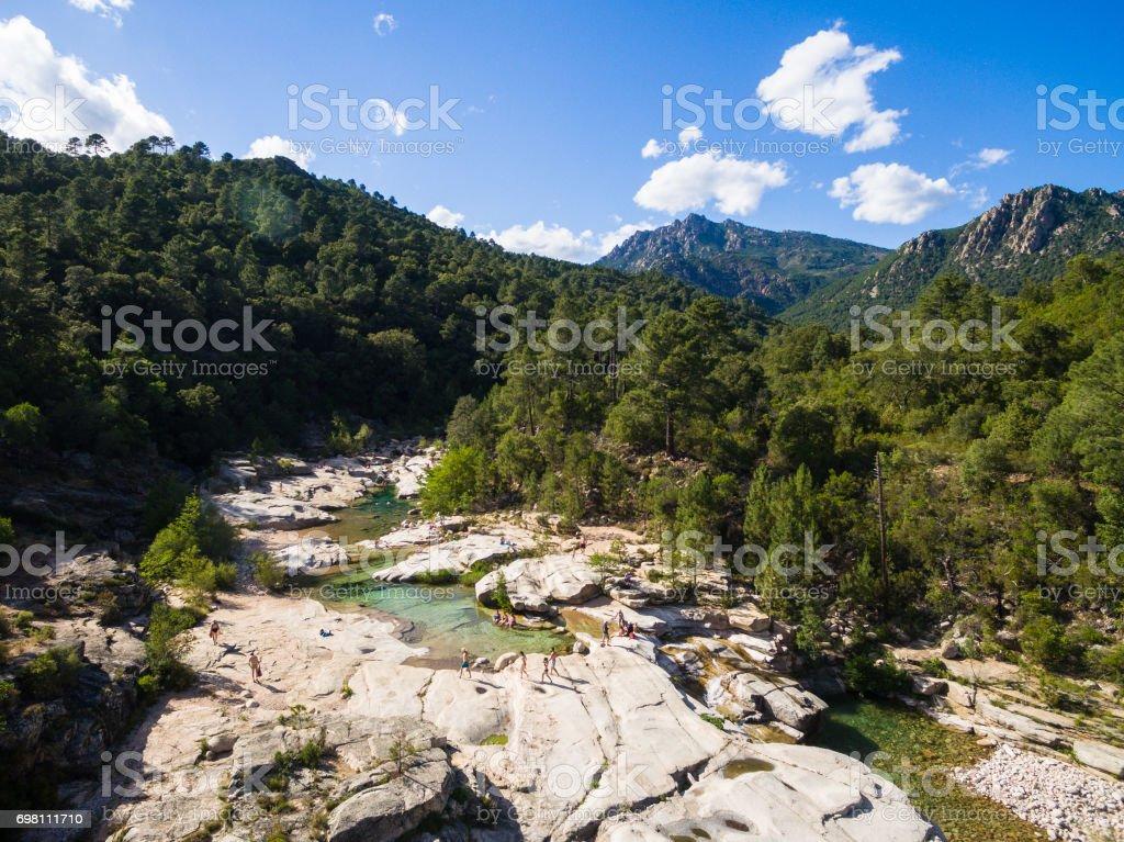 Aerial  view of Cavu natural pool near Tagliu Rossu and Sainte Lucie in Corsica Island, France stock photo