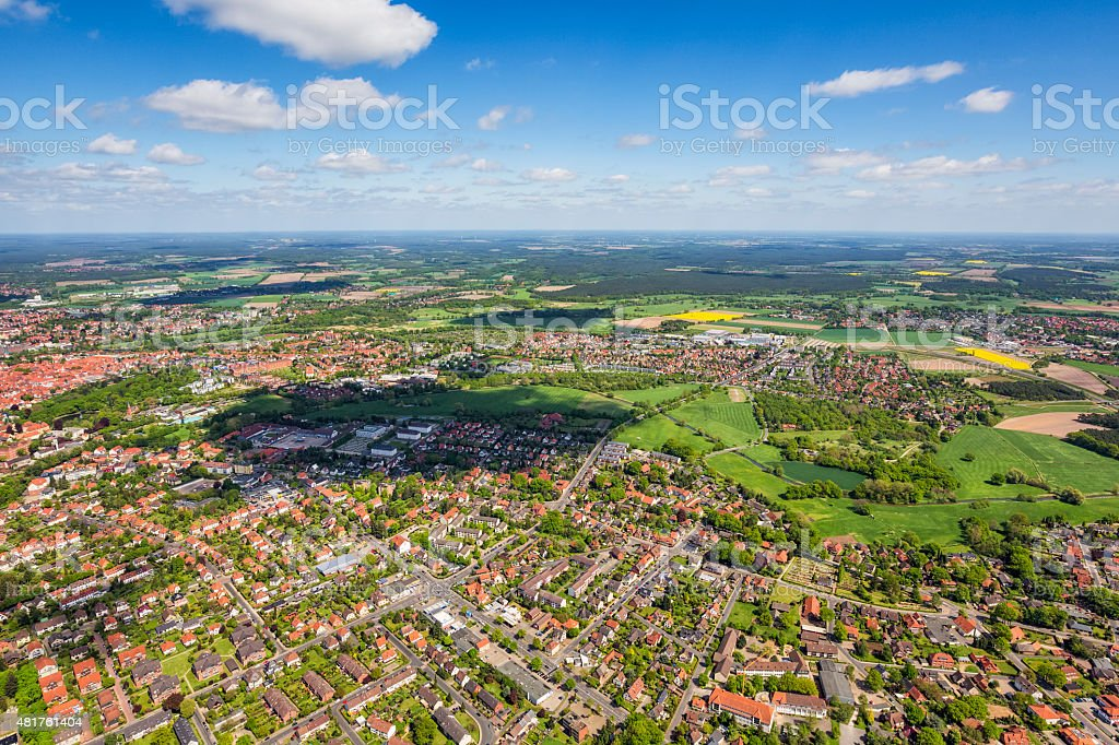 Aerial View of Celle , Lower Saxony , Germany stock photo