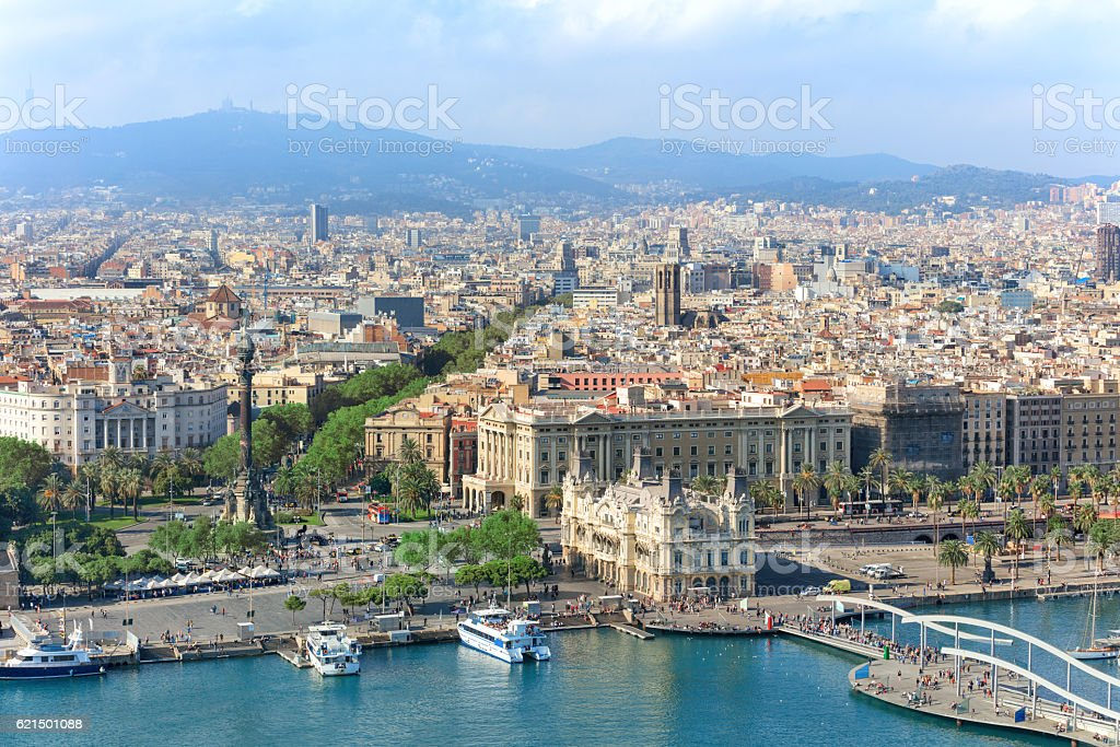 Aerial view of central Barcelona stock photo