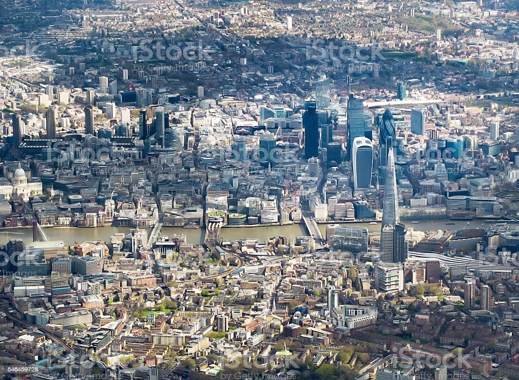 Aerial view of central London with City landmarks stock photo