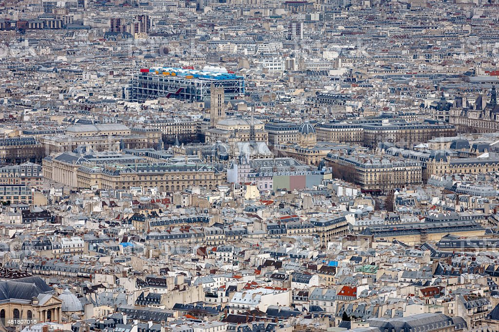 Aerial view of central Paris with Centre Georges Pompidou, France stock photo