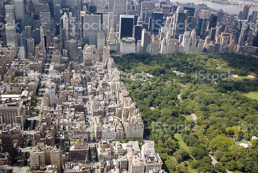Aerial view of Central Park, NYC stock photo