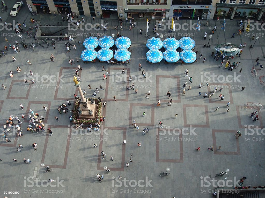 Aerial view of central square stock photo
