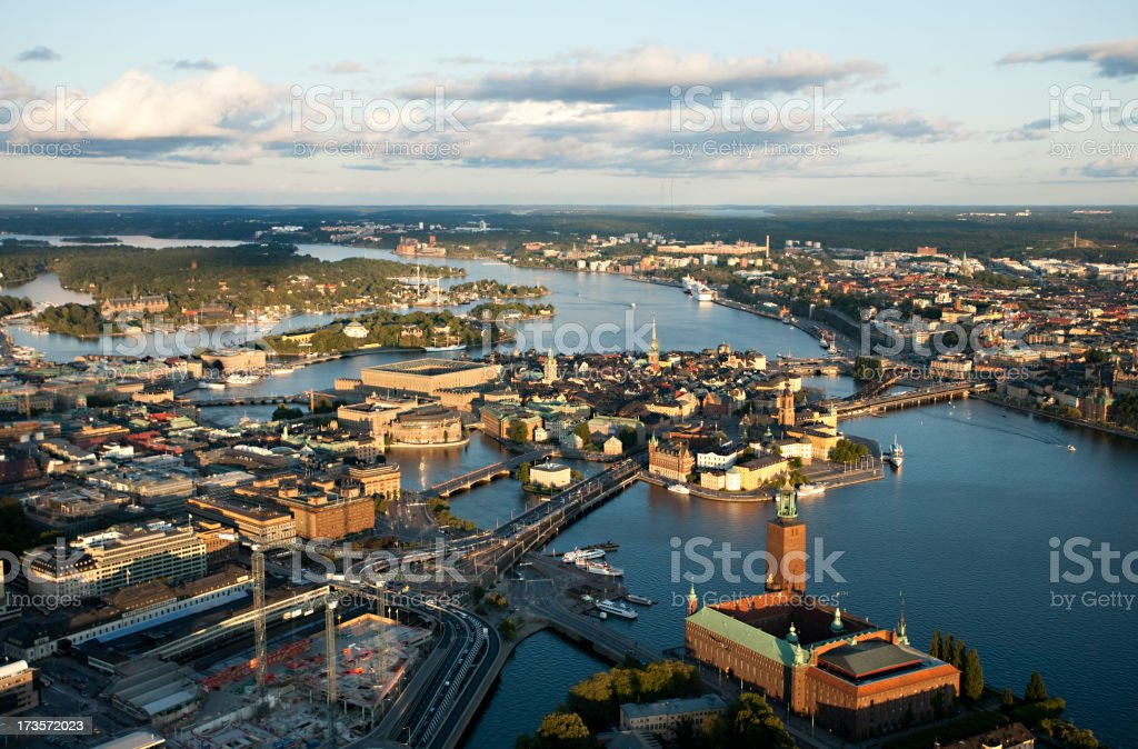 Aerial view of central Stockholm royalty-free stock photo