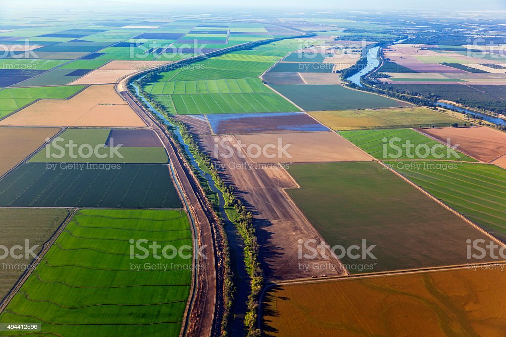Aerial View of Central Valley near Sacramento stock photo