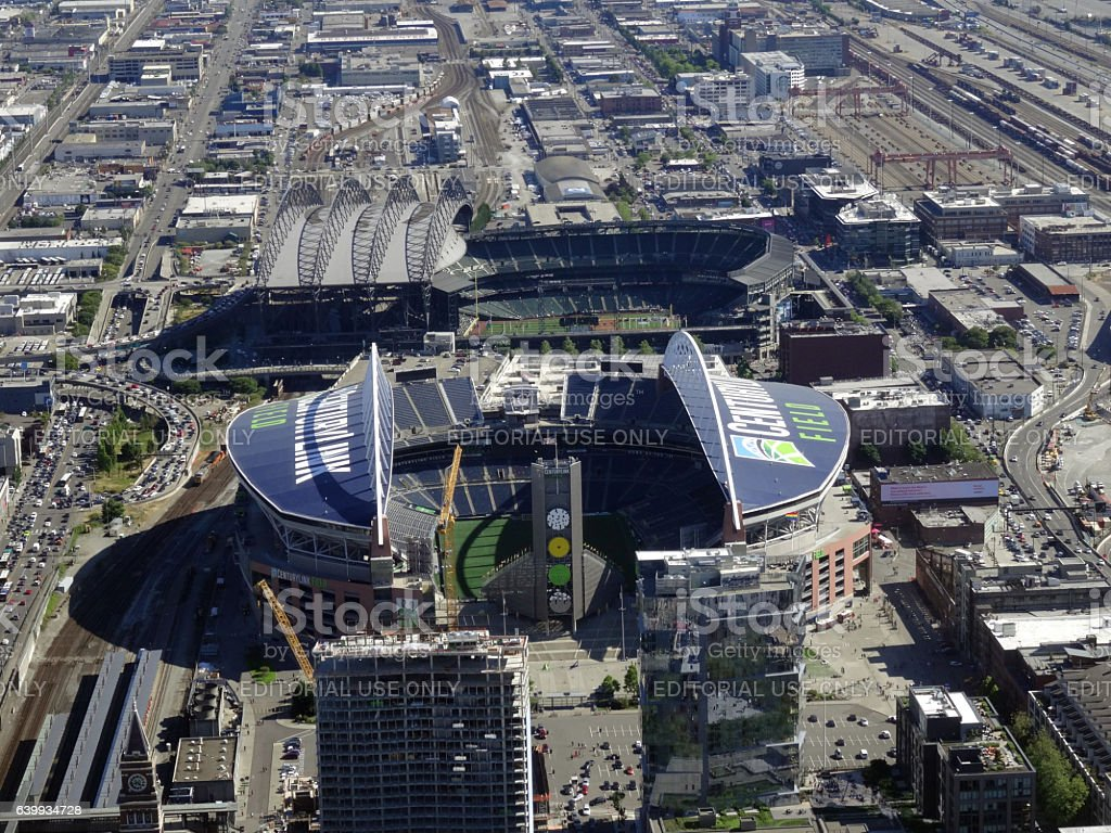 Aerial View of CenturyLink Field and Safeco field stock photo