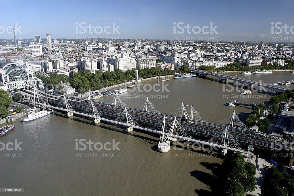 Aerial View of Charing Cross Bridge, London stock photo
