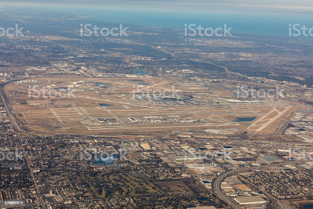 Aerial View of Chciago Ohare stock photo