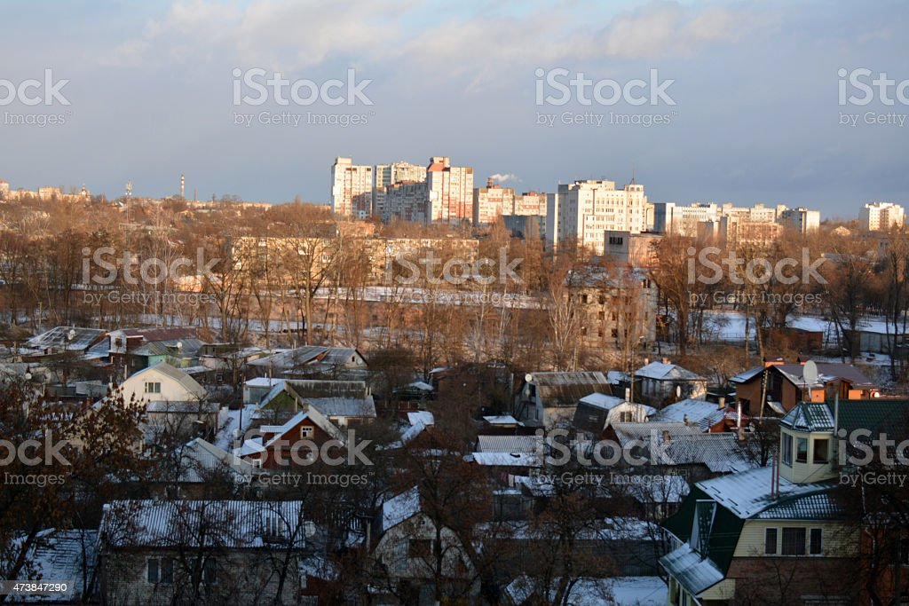 Aerial view of Chernihiv, Ukraine, in winter stock photo