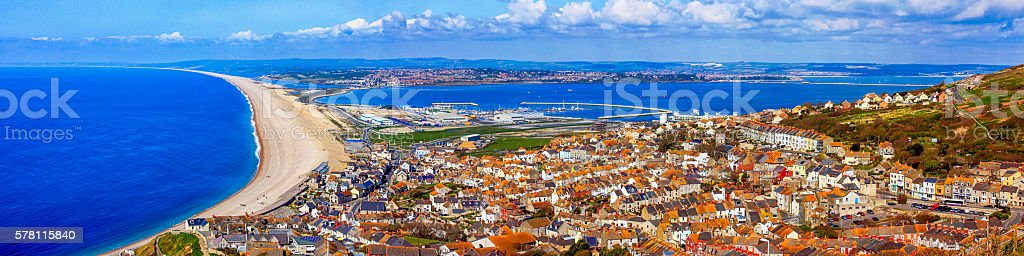 Aerial view of Chesil beach and Portland in Dorset, UK stock photo