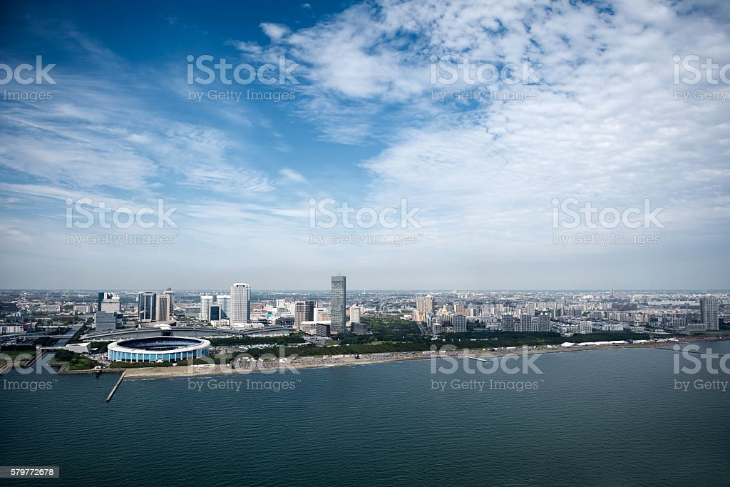Aerial view of Chiba City stock photo