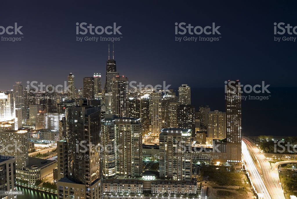 Aerial View of Chicago at Night stock photo