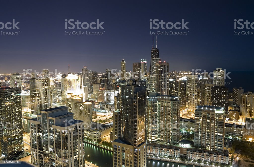 Aerial View of Chicago at Night royalty-free stock photo