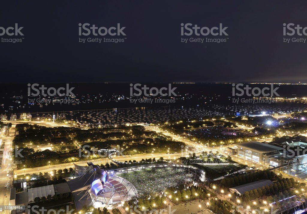 Aerial View of Chicago Lakefront at Night royalty-free stock photo