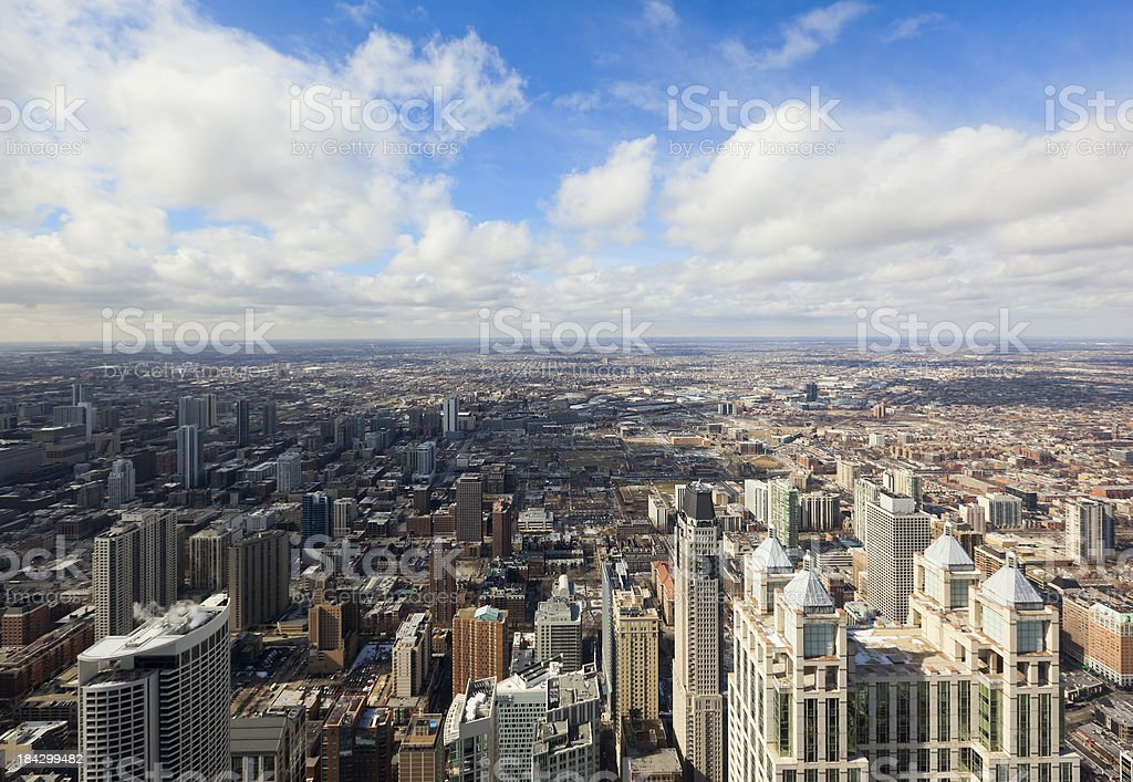 Aerial View of Chicago Looking West royalty-free stock photo