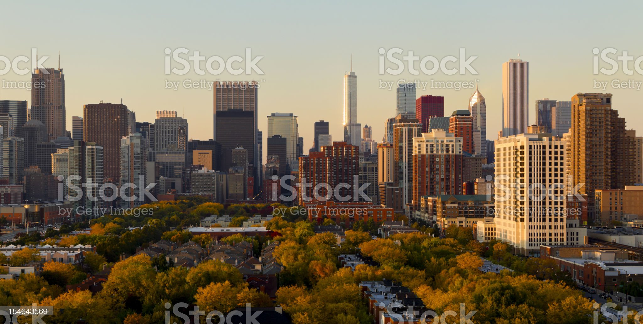 Aerial View of Chicago Skyline at Sunset royalty-free stock photo