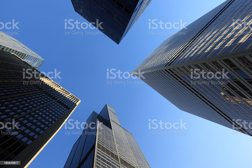 Aerial View of Chicago Skyscrapers, Illinois stock photo