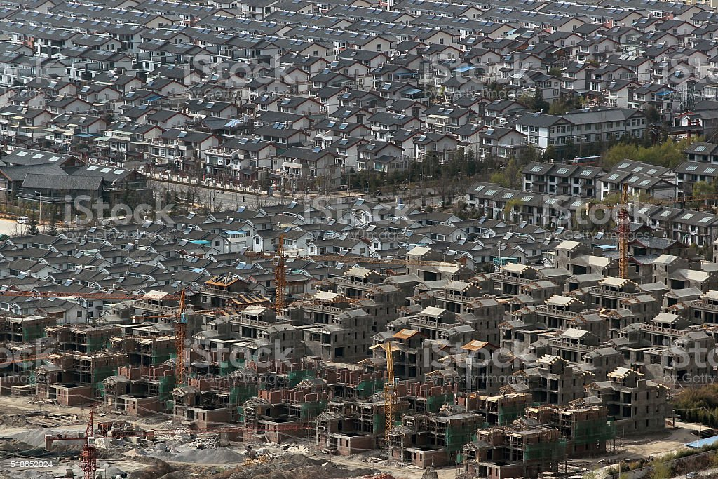 Aerial view of chinese residential area stock photo