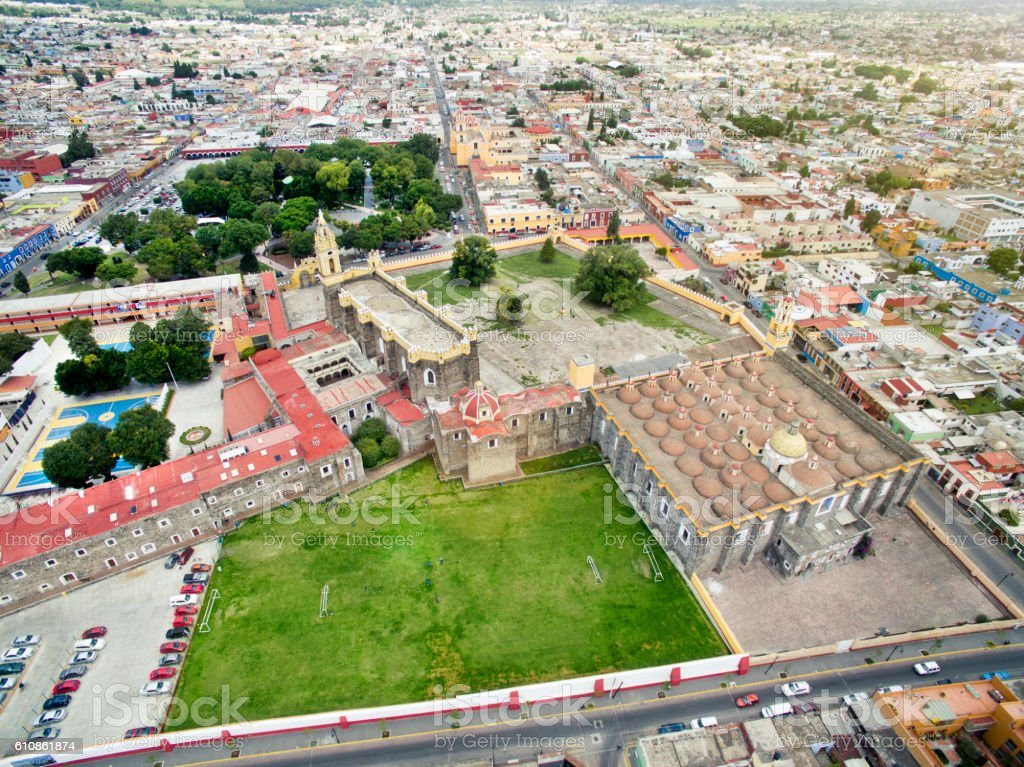 Aerial view of Cholula, Mexico stock photo