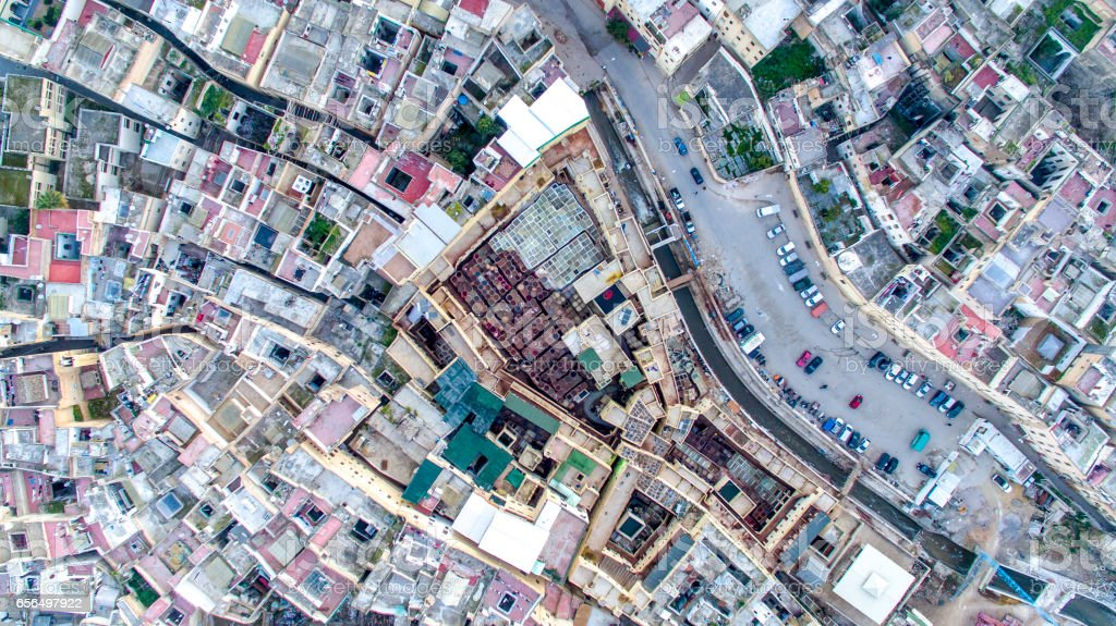 Aerial view of Chouara Tannery in Fez, Morocco stock photo