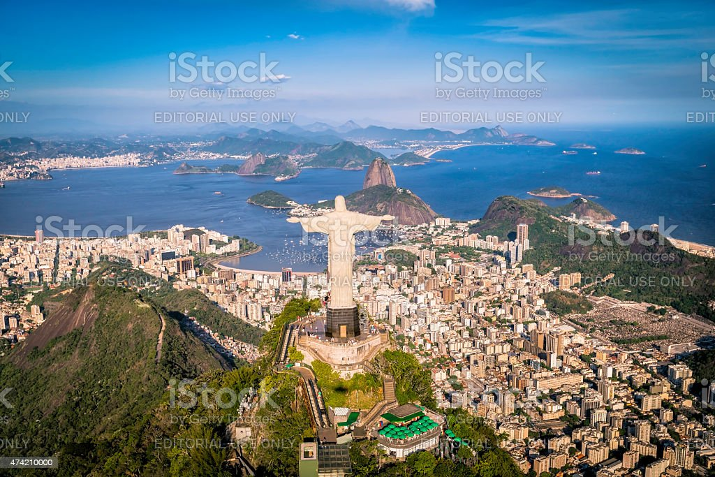 Aerial view of Christ and Botafogo Bay from high angle stock photo