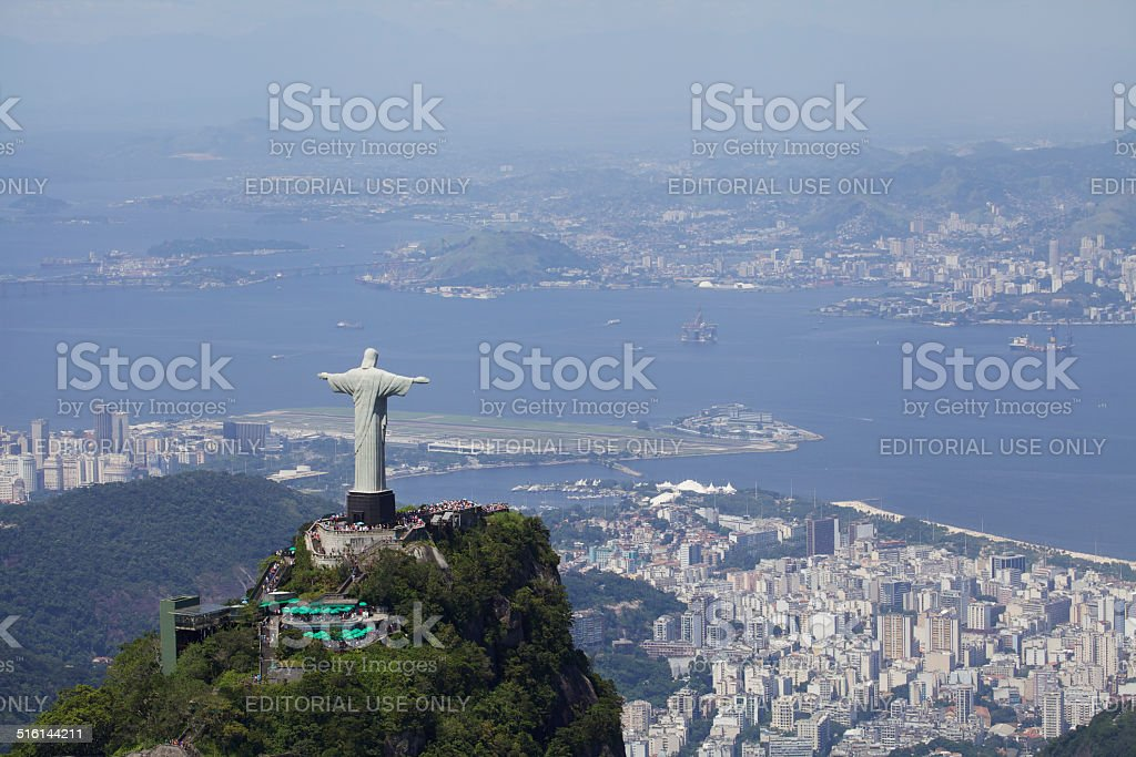 Aerial view of Christ Redeemer stock photo