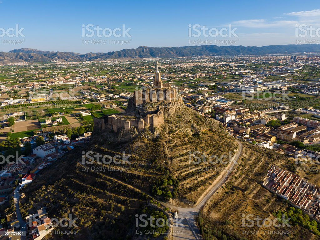 Aerial view of Christ Statue on Monteagudo stock photo