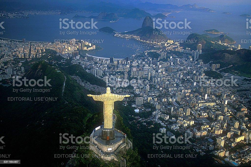 Aerial view of Christ, Sugarloaf,  Rio de Janeiro, Brazil stock photo