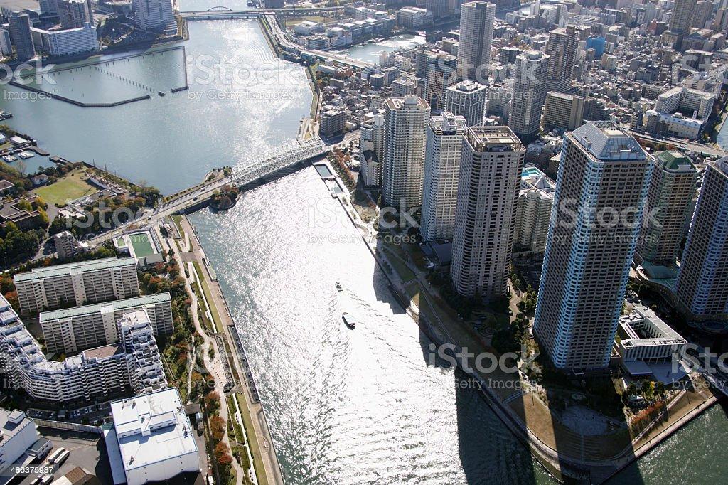 Aerial view of Chuo-ku areas stock photo