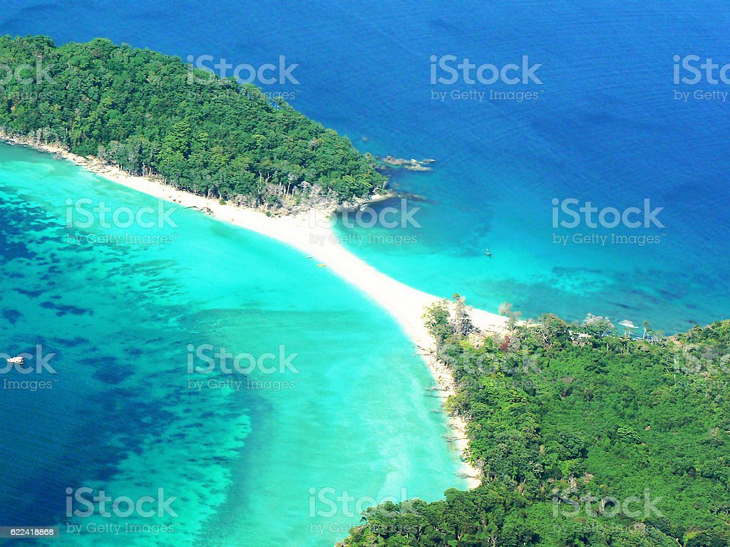 Aerial view of​ Cinque Island, Andaman. stock photo