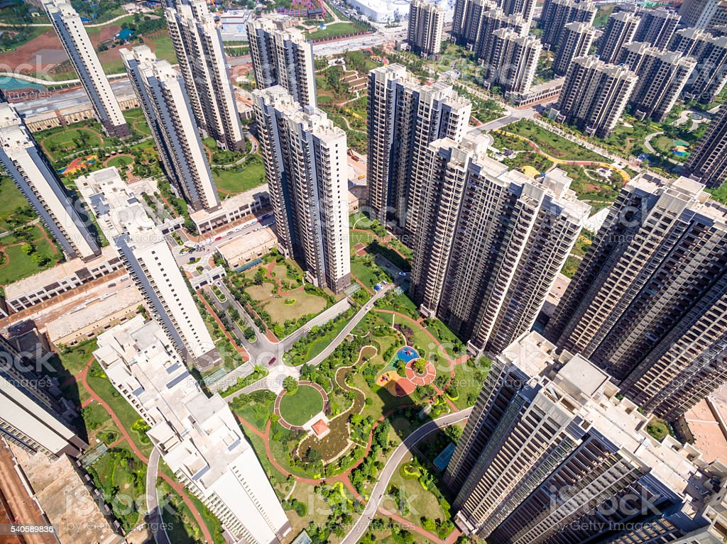Aerial view of city building stock photo
