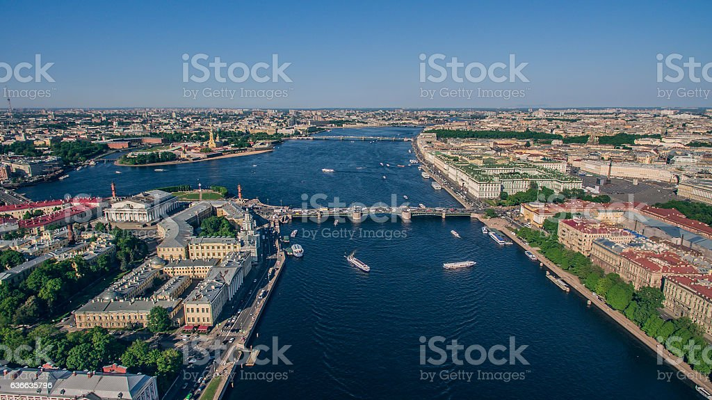 Aerial view of city center in St. Petersburg stock photo