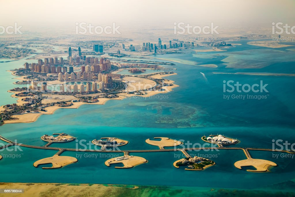 Aerial view of city Doha, capital of Qatar stock photo