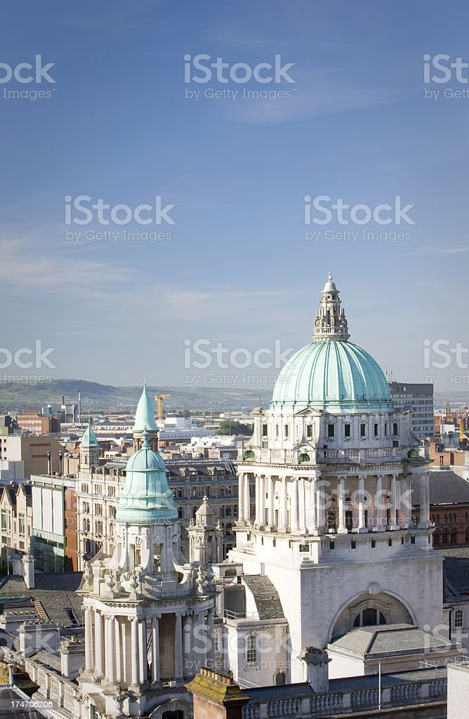 Aerial view of City Hall, Belfast stock photo