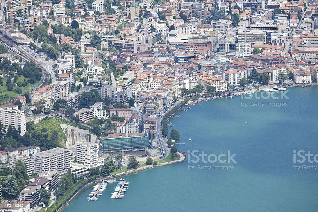 Aerial view of city Lugano with lake stock photo