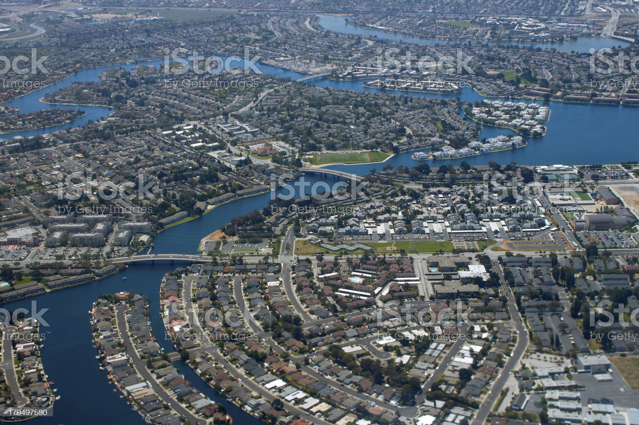 Aerial view of city on a bay royalty-free stock photo