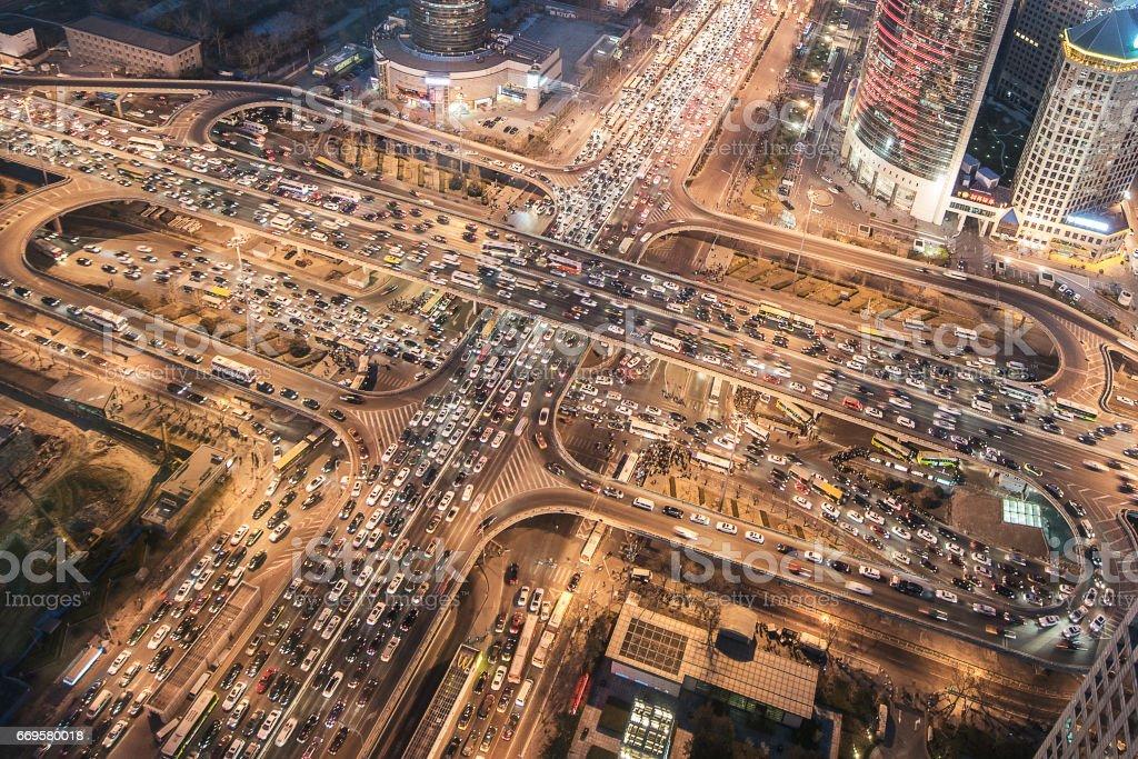 Aerial View of City Traffic Jam stock photo