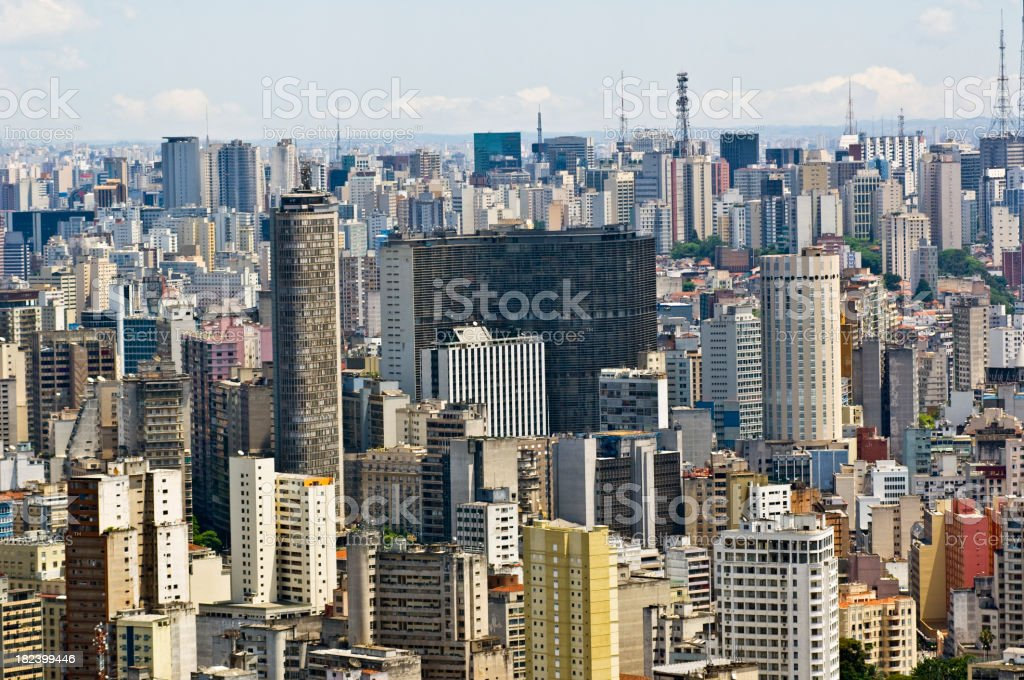 Aerial view of cityscape in Sao Paulo royalty-free stock photo