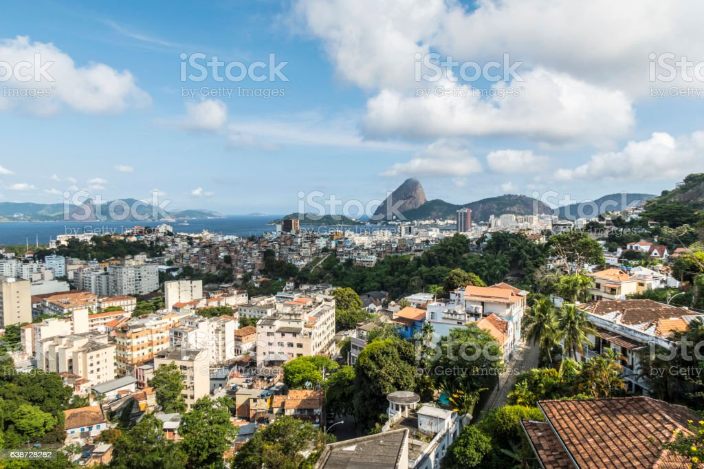 Aerial view of cityscape, the Sugarloaf mountain in Rio stock photo