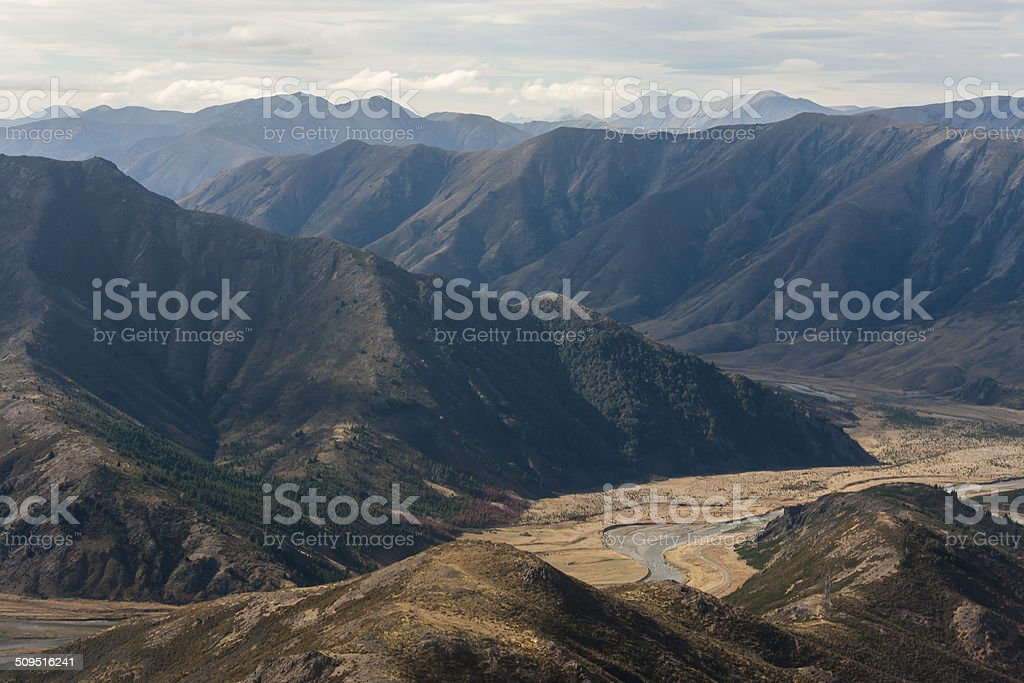 aerial view of Clarence river valley stock photo