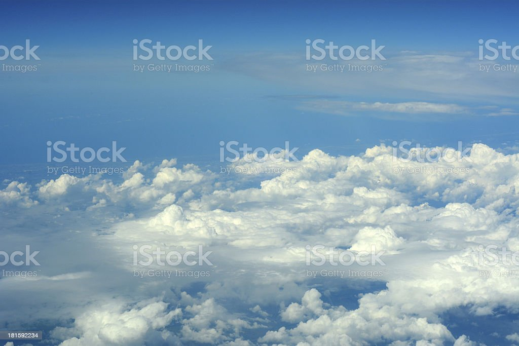 Aerial view of clouds and blue sky royalty-free stock photo