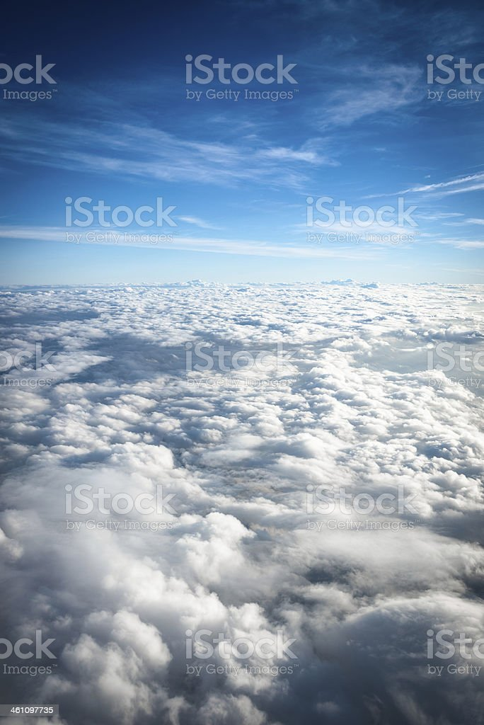 Aerial view of clouds from the sky royalty-free stock photo